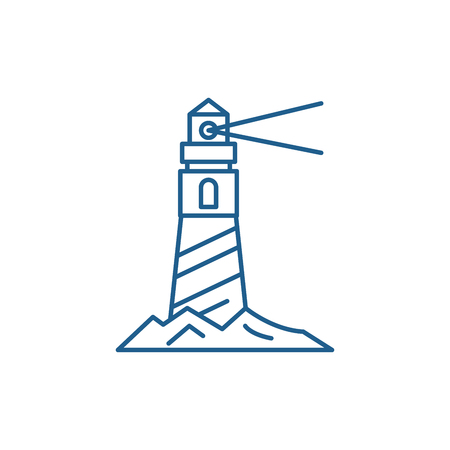Lighthouse on the shore line concept icon. Lighthouse on the shore flat  vector website sign, outline symbol, illustration. Banco de Imagens - 119908932