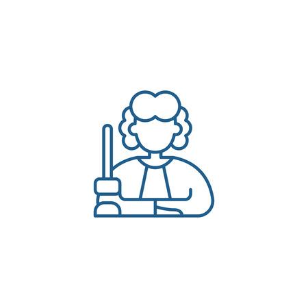 Judge line concept icon. Judge flat  vector website sign, outline symbol, illustration. Illustration