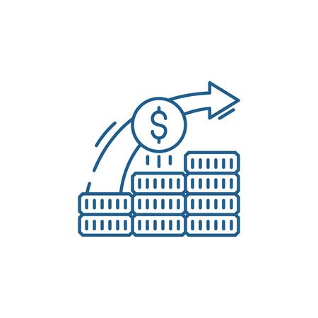Investment system line concept icon. Investment system flat  vector website sign, outline symbol, illustration. Ilustração