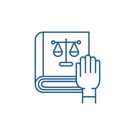 Law and order line concept icon. Law and order flat  vector website sign, outline symbol, illustration.