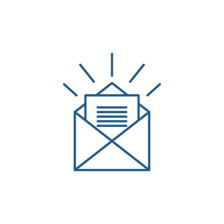 Letter for you line concept icon. Letter for you flat  vector website sign, outline symbol, illustration. Foto de archivo - 119908942
