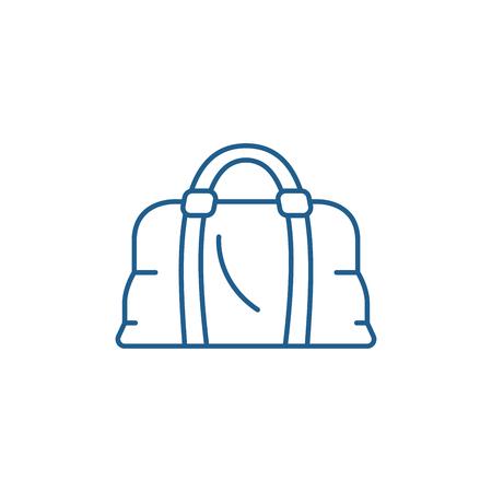 Leather bag line concept icon. Leather bag flat  vector website sign, outline symbol, illustration. Illusztráció