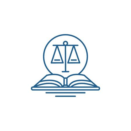 Ikona koncepcja linii kodu prawnego. Kod prawny płaski wektor strony internetowej znak, symbol konspektu, ilustracja.