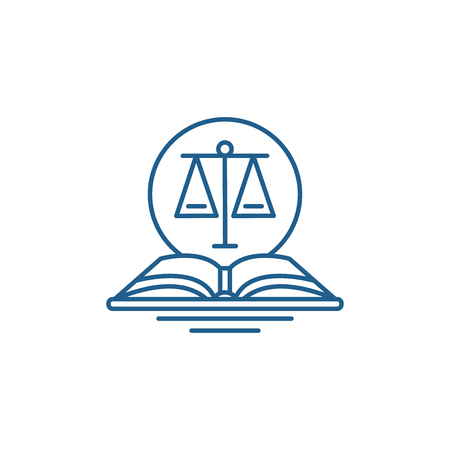 Legal code line concept icon. Legal code flat vector website sign, outline symbol, illustration.