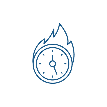 Lack of time line concept icon. Lack of time flat  vector website sign, outline symbol, illustration. Çizim
