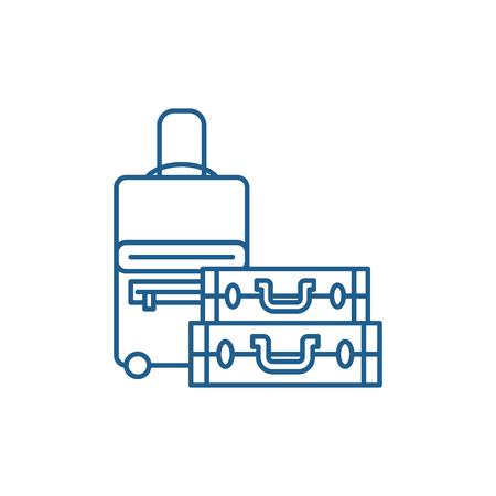 Luggage line concept icon. Luggage flat  vector website sign, outline symbol, illustration.
