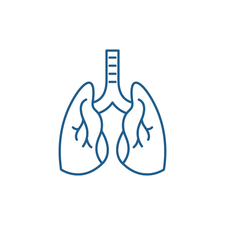 Lungs line concept icon. Lungs flat  vector website sign, outline symbol, illustration. 向量圖像