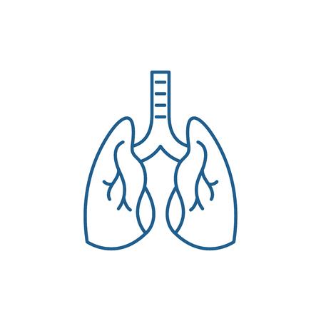 Symbol für das Konzept der Lunge. Lungen flaches Vektor-Website-Zeichen, Umrisssymbol, Illustration