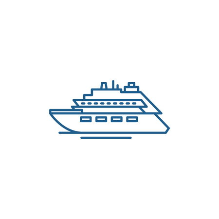 Luxury yacht line concept icon. Luxury yacht flat  vector website sign, outline symbol, illustration.