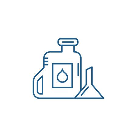 Machine oil line concept icon. Machine oil flat  vector website sign, outline symbol, illustration. Illustration