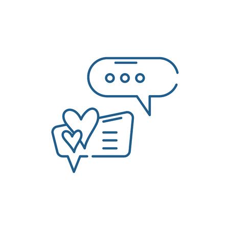 Love correspondence line concept icon. Love correspondence flat  vector website sign, outline symbol, illustration. Çizim