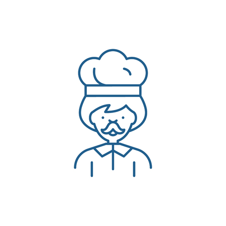 Male cook line concept icon. Male cook flat  vector website sign, outline symbol, illustration.