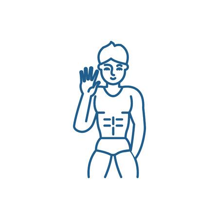 Icône de concept de ligne de strip-tease masculin. Strip-tease masculin vecteur télévision signe site Web, symbole du contour, illustration. Vecteurs
