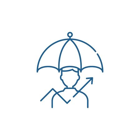 Management of risks line concept icon. Management of risks flat  vector website sign, outline symbol, illustration. Foto de archivo - 119910120