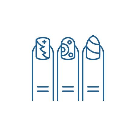 Manicure line concept icon. Manicure flat  vector website sign, outline symbol, illustration.