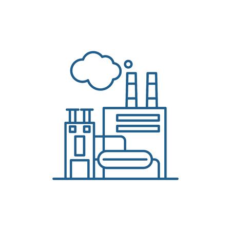 Productie faciliteit lijn icoon concept. Productiefaciliteit platte vector website teken, overzichtssymbool, afbeelding.