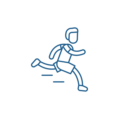 Marathon line concept icon. Marathon flat  vector website sign, outline symbol, illustration.  イラスト・ベクター素材