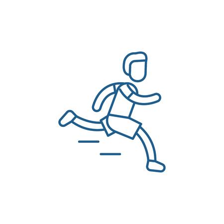 Marathon line concept icon. Marathon flat  vector website sign, outline symbol, illustration. Illustration