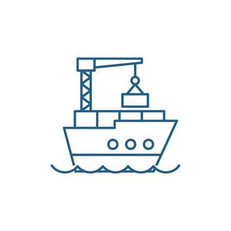 Icône de concept de ligne de logistique maritime. Signe de site Web de vecteur plat de logistique maritime, symbole du contour, illustration. Vecteurs