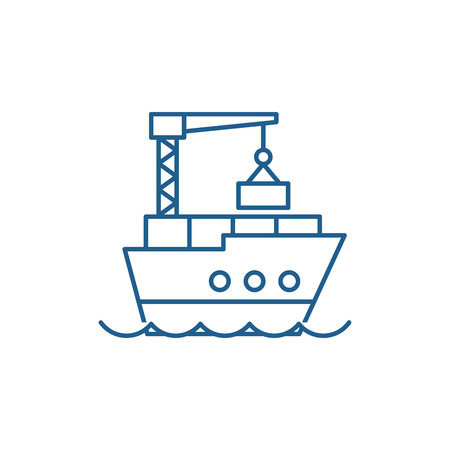 Maritime logistics line concept icon. Maritime logistics flat  vector website sign, outline symbol, illustration. 向量圖像