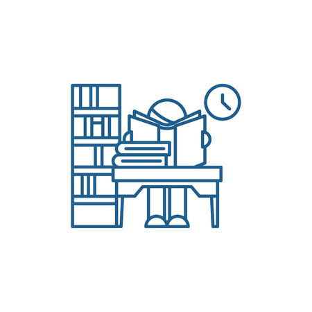 Library line concept icon. Library flat  vector website sign, outline symbol, illustration. Illustration
