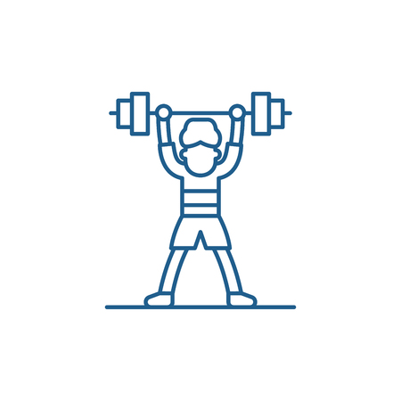 Lift barbell line concept icon. Lift barbell flat  vector website sign, outline symbol, illustration. Ilustracja