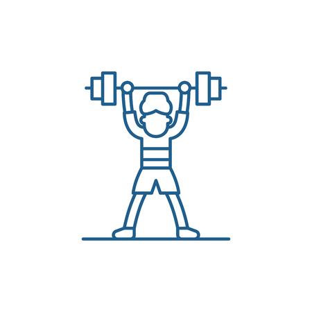 Lift barbell line concept icon. Lift barbell flat  vector website sign, outline symbol, illustration. Reklamní fotografie - 119910457