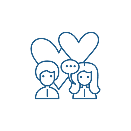 Love relationship line concept icon. Love relationship flat  vector website sign, outline symbol, illustration. Çizim