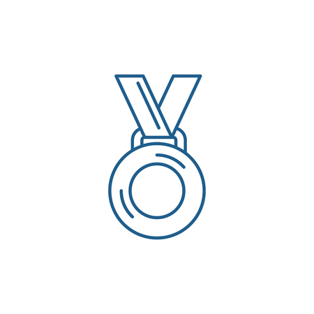 Medal winner line concept icon. Medal winner flat  vector website sign, outline symbol, illustration.