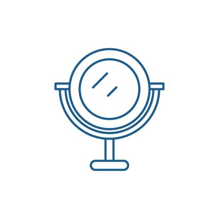Makeup mirror line concept icon. Makeup mirror flat  vector website sign, outline symbol, illustration. Stock Illustratie