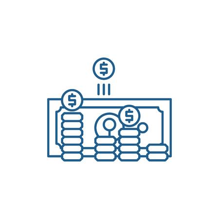Making money line concept icon. Making money flat  vector website sign, outline symbol, illustration.