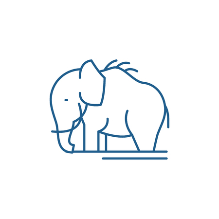 Mammoth line concept icon. Mammoth flat  vector website sign, outline symbol, illustration.