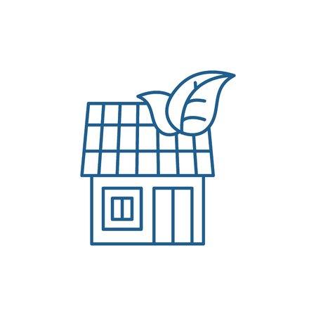 It house line concept icon. It house flat  vector website sign, outline symbol, illustration.