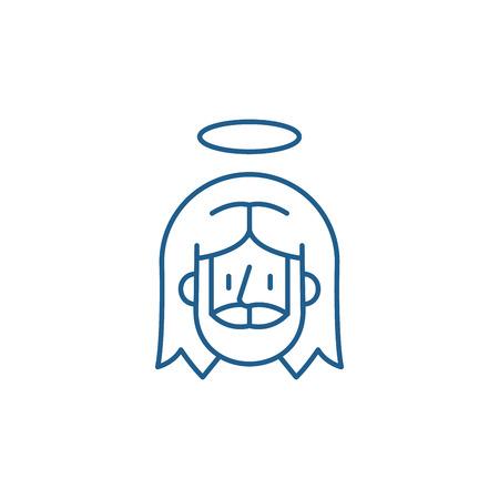 Jesus line concept icon. Jesus flat  vector website sign, outline symbol, illustration.