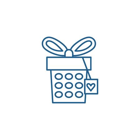 Jewelery box line concept icon. Jewelery box flat  vector website sign, outline symbol, illustration. Illustration