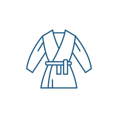 Kimono line concept icon. Kimono flat vector website sign, outline symbol, illustration.