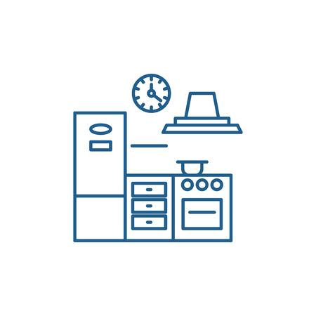 Kitchen line concept icon. Kitchen flat  vector website sign, outline symbol, illustration.