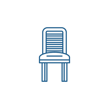 Kitchen chair line concept icon. Kitchen chair flat  vector website sign, outline symbol, illustration. Foto de archivo - 119910505