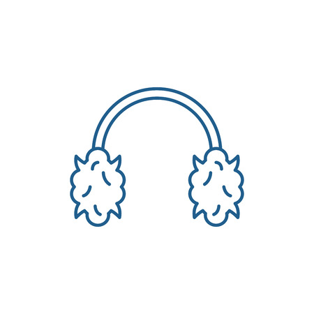 Knitted headphones line concept icon. Knitted headphones flat  vector website sign, outline symbol, illustration.