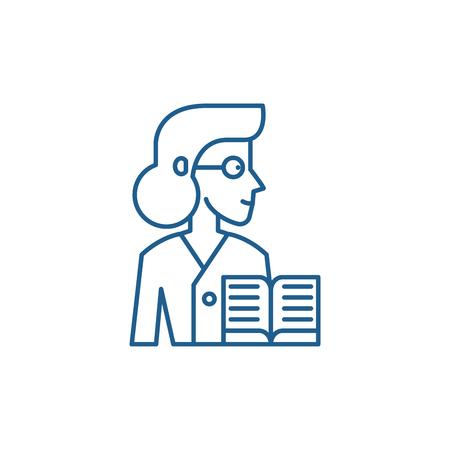 Learned line concept icon. Learned flat  vector website sign, outline symbol, illustration. 向量圖像