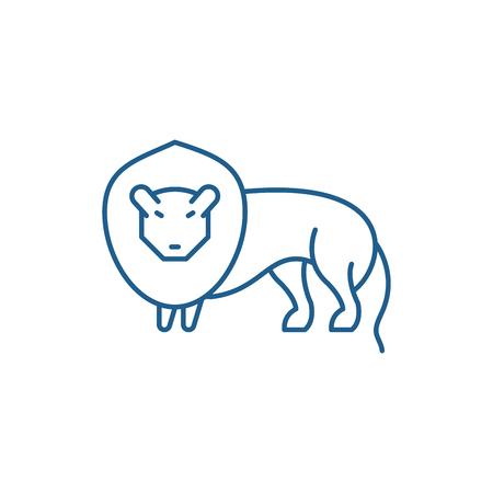 Lion line concept icon. Lion flat  vector website sign, outline symbol, illustration.