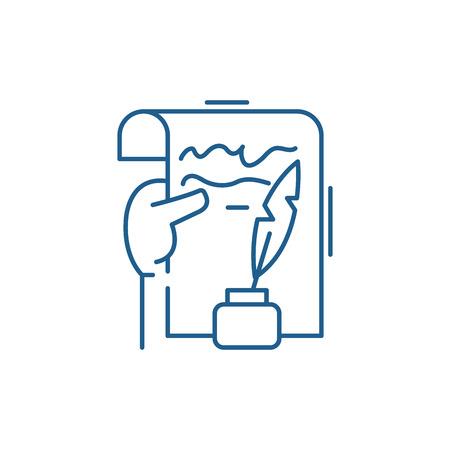 Literary creativity line concept icon. Literary creativity flat  vector website sign, outline symbol, illustration. Reklamní fotografie - 119910612