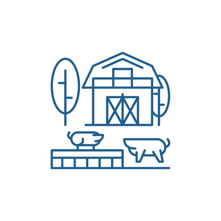 Livestock line concept icon. Livestock flat  vector website sign, outline symbol, illustration.  イラスト・ベクター素材