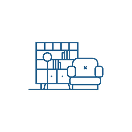 Living room line concept icon. Living room flat  vector website sign, outline symbol, illustration. Illustration