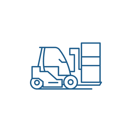 Loader line concept icon. Loader flat  vector website sign, outline symbol, illustration. Banque d'images - 119910618