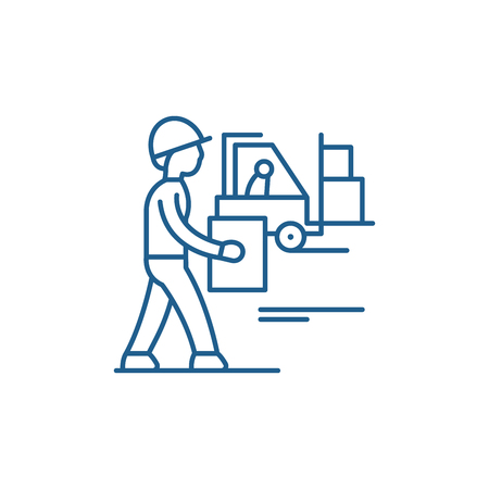 Loading goods line concept icon. Loading goods flat  vector website sign, outline symbol, illustration.