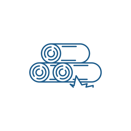 Logs line concept icon. Logs flat  vector website sign, outline symbol, illustration.