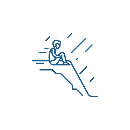 Icona del concetto di linea di solitudine. La solitudine del vettore piatto sito web segno, simbolo di contorno, illustrazione.