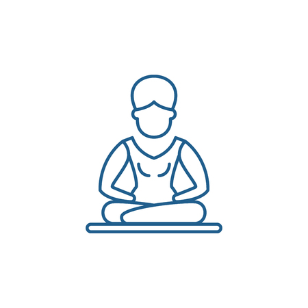 Lotus pose meditation line concept icon. Lotus pose meditation flat  vector website sign, outline symbol, illustration. Ilustração