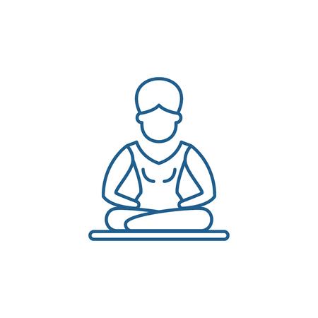 Lotus pose meditation line concept icon. Lotus pose meditation flat  vector website sign, outline symbol, illustration. Illustration